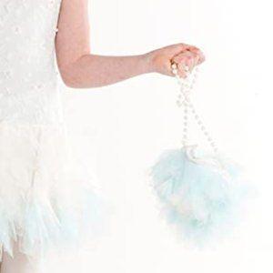 Girl's Aqua Tule Flower White Pearl Strap Purse
